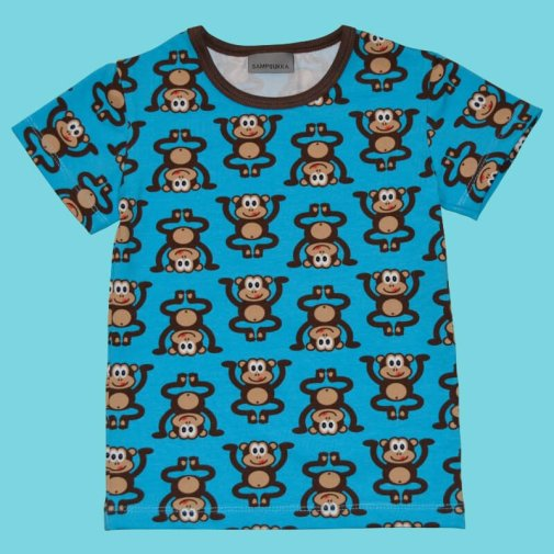 Short Sleeve Shirt, monkey turquoise