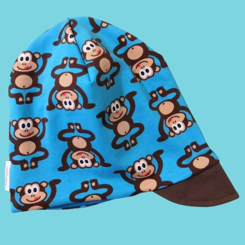 Wrinkled beanie with cap, monkey turquoise
