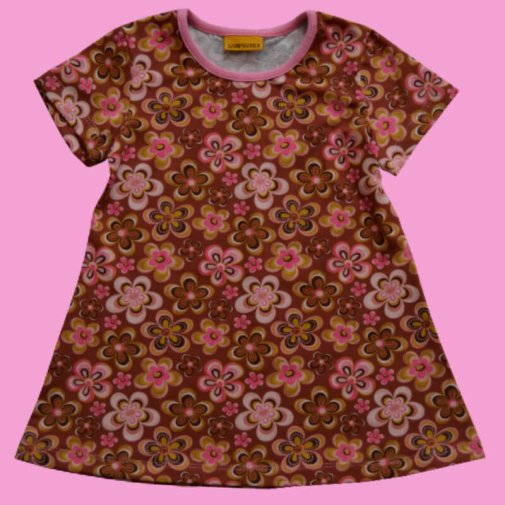 Tunic, short sleeve, flowers brown