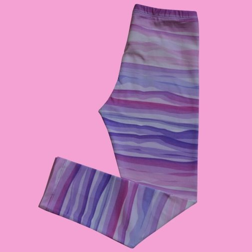 Leggings, Generous Fit For Kids, Wavy Stripes, lilac