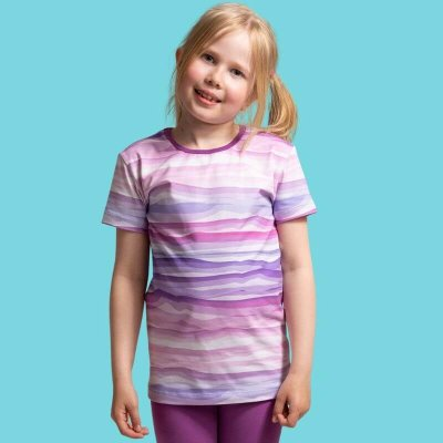 Short Sleeve Shirt, Wavy Stripes, lila