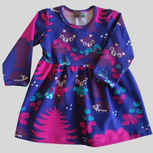 Dress, long sleeve, berrybear blue