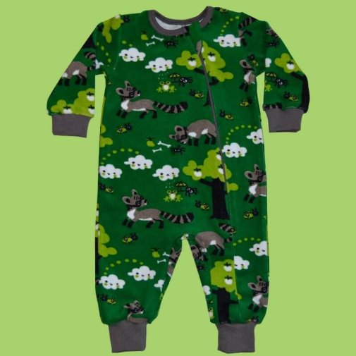 Baby jumpsuit, terry raccoon green