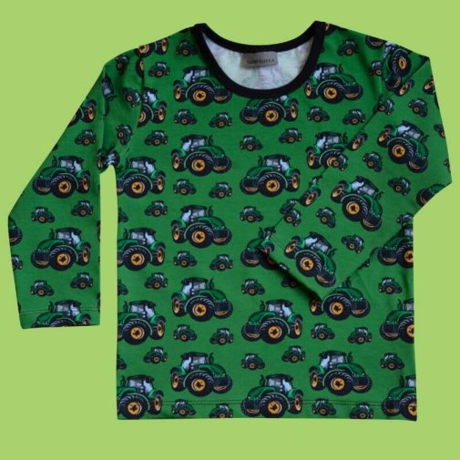 Long Sleeve Shirt, Generous Fit For Kids, Tractors green