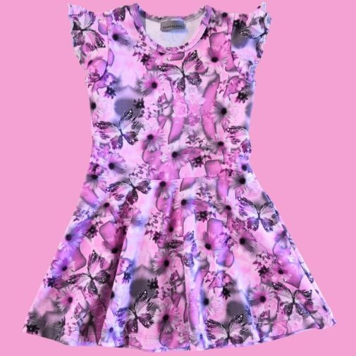 Dress, short sleeve, lilac wing